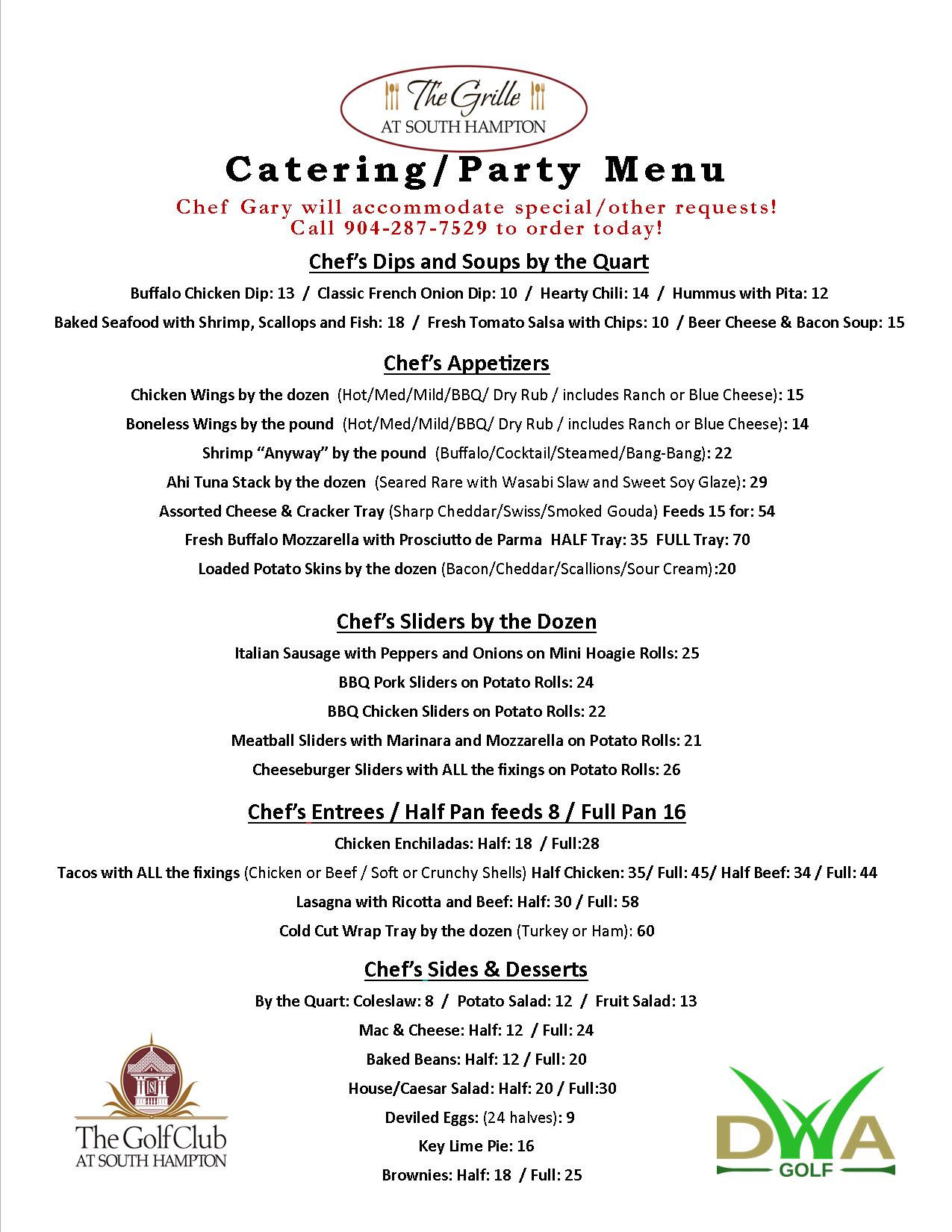 2019 Actual Catering Menu